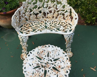 Cast Iron Garden Bench And Table Antique White Chippy Paint Patio Set