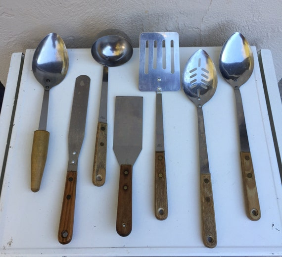 Vintage Wood Handled Kitchen Utensils Kitchen Tools Spatulas