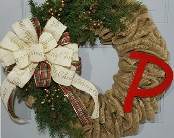Burlap Christmas Wreath - Monogram Christmas Wreath - Rustic Christmas Wreath - Winter Wreath - Christmas Wreath - Evergreen and Burlap