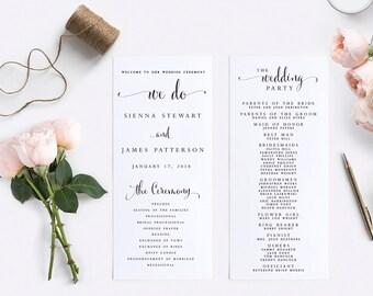 Wedding Program-Instant Download-Printable-Editable PDF-DIY Template-Digital Calligraphy Template-Printable Wedding Program-#SN004_P