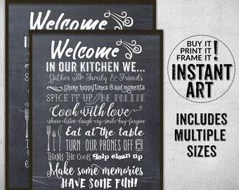 Welcome In Our Kitchen Printable Wall Art U2022 Home Decor U2022 Typography Print U2022  Wall Art