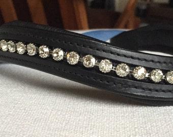 Cob/Pony Wave Browband with Tiffany Set Swarovski Crystals - 15 in.
