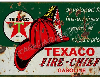 Reproduction Texaco Fire Chief Gasoline - w/ Hat Advertising Metal Sign (Rusted)