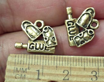 Set of 7 Vintage pewter glue nail  charms  , Jewelry Making Made in USA /CC3