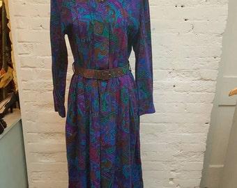 Vintage 1980s mister dee of london Paisley dress. UK size 14.