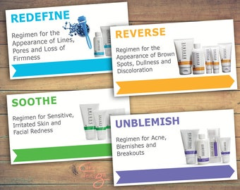 4 Rodan + Fields Regimen Before & After Cards, printable, downloadable