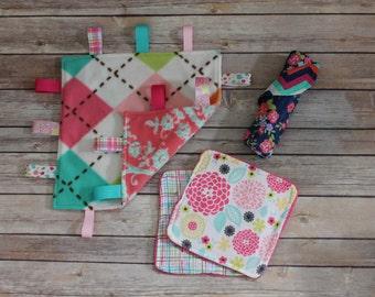 Take Me Blankie, Burp Cloth, and Two Wash Cloth Gift Set