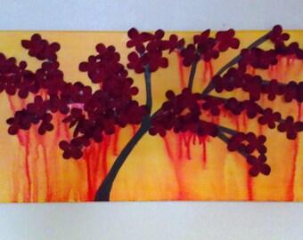 3D Drip Wall Art: Red Flowering Tree