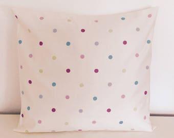 Handmade White and Multi-Coloured Polkadot Cushion
