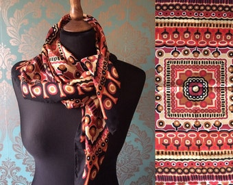 Vintage 70's Silk Patterned Scarf