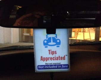 Lighted tip sign for Uber & Lyft for easy 24/7 visibility
