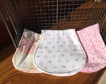Handmade burp cloths, 3-piece burp cloth set, Pink burp cloths, Animal print burp cloths,