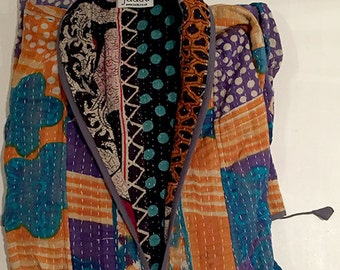 Vintage cotton | ORANGE/BLUE | Kantha stitch dressing gown made from vintage saris | Vintage cotton dressing gown | Kantha stitch robe