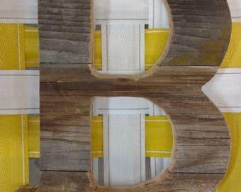"""CUSTOM - 14"""" Tall Reclaimed CEDAR letter - Nursery decor - Pallet wall art - Monogram A B C D E F G H I J K L M N O P Q R S T U V W X Y Z"""
