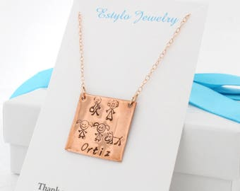 Personalized Christmas Gift for Mom Necklace Square, Stick Family Necklace, Custom Square Plate Necklace, Silver Tag Gold or Rose Gold Fill