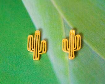Vergoldete Kaktus Ohrringe