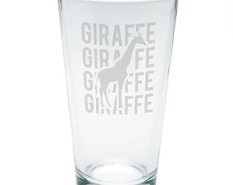 Giraffe Stack Repeat Etched Pint Glass