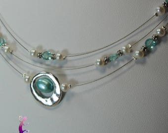 """Necklace 3 rows """"Hojaï"""" with aquamarine beads and white freshwater pearls"""