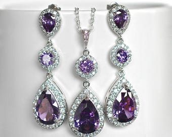 Amethyst Purple Cubic Zirconia CZ Bridal Necklace and Earring Set, Bridal, Wedding (Sparkle-2061)