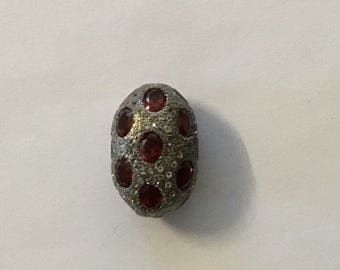 Pave white topaz mozambic garnet  sterling silver beads