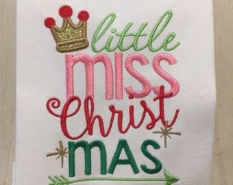 Little Miss Christmas Shirt for baby girl // Christmas Shirt Onesie Bodysuit // Holiday Shirt Onesie // Girl Christmas Shirt Onesie