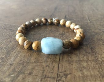 Picture Jasper Beaded Bracelet with Stone, Stackable Beaded Bracelet, Gemstone Bracelet