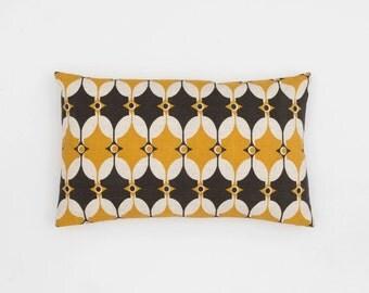 Scandinavian Cushion Cover - Geometric Cushion - Handscreen Printed - Yellow Grey Cushion - Modern Cushion Selin Cushion 30x50cm