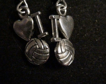 silver I heart volleyball earrings
