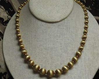 stunning vintage brushed gold plated sterling silver graduated beaded necklace 18 1/2 inches