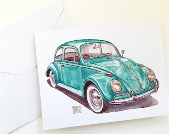 VW bug greeting cards, set of 8 cards and envelopes, volkswagen beetle, watercolor painting, original artwork, classic car, painting,blank