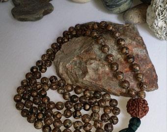 8mm Tibetan Agate and Rudirushka Mala