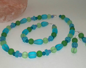 Sea Glass Jewelry - Jewelry Set - Beaded Jewelry Set - Gifts for her!