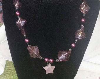 Beaded Necklace - Beaded Jewelry - Rose Quartz - Love Stone -Star Jewelry - Purple - Gifts for her!