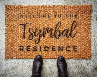 Custom outdoor coir door mat, personalized front door mat family established, custom doormat, welcome Mat Door Mat, custom rug, welcome mat