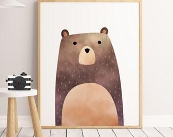 SALE PDF Woodland Nursery, Bear Print, Bear Art, woodland bear,  Printable Art, Animal Print, Animal Art Print, watercolor bear,woodland Art