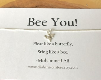 Bee Charm Necklace; Sterling Silver Bee Charm with Sentiment; inspirational message, gift for her, encouragement necklace and charm