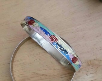 Bright and Colorful Enamel Bangle With Flowers Estate Sale Jewelry Yellow Blue Red Pink Aqua Turquoise