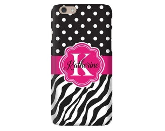 Personalized iPhone Case, iPhone 6s, Monogram iPhone 6 Case, iPhone 6 Plus, SE Case, Samsung Galaxy Cases, Galaxy S7 Case, Zebra Polka Dot