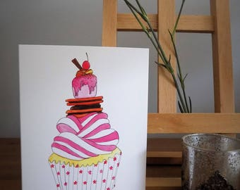 Cupcake A6 watercolour greetings card