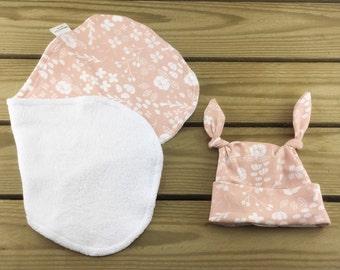 Organic baby burp cloth and hat set,