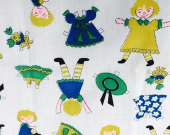 VIntage Fabric,Paper Doll Fabric,Doll Clothes Fabric, Blue Fabric,Children's Clothes Fabric,Retro Fabric,70's Fabric