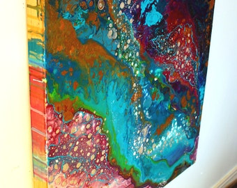 Flowers Down, original mixed media abstract fluid painting