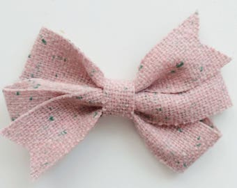 Fall Pink Tweed Hair Bow