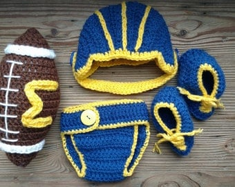 Crochet Newborn Baby Football Team Helmet Outfit Any Color Photo Prop Halloween Costume Gift Accessory