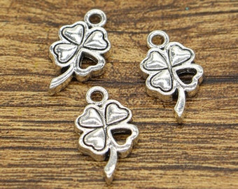 30pcs Clover Charm Good Luck 4 Leaf Clover Charm Antique Silver Tone 2 Sided 11x20mm cf2488