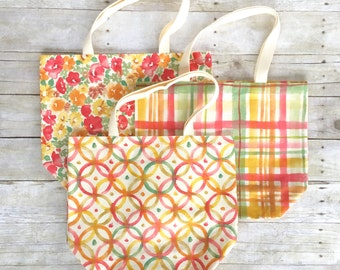 Reusable Market Tote, Watercolor Tote Bag, Reusable Market Bag, Colorful Grocery Bags, Bright Reusable Bags, Reusable Grocery Bags,