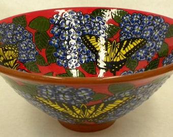 Swallowtail and Hydrangea Bowl (Item#38)