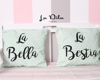 Pair of pillows with personalized printing