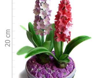 Flowers Cold Porcelain Miniature HYACINTHS Home Decor-Hand Made