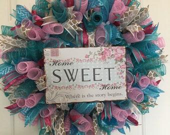 Home Sweet Home, Deco Mesh, Ribbon, Pink, Teal, Wreath,